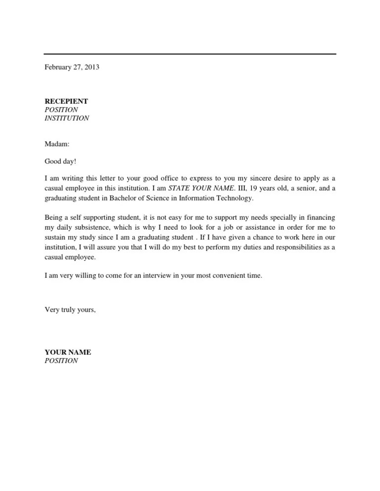 Sample Application Letter For Government Job Philippines  Andrian James Blog