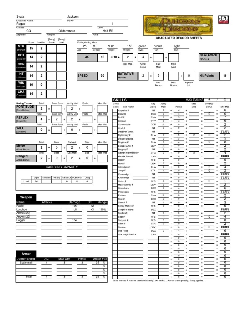 Dungeons and Dragons 3.5 Character Sheet