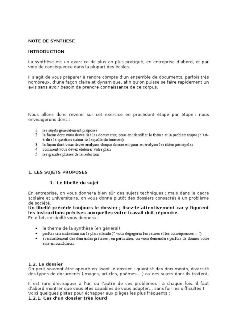Faire Une Note De Synthèse : faire, synthèse, Synthese, Document, Logique