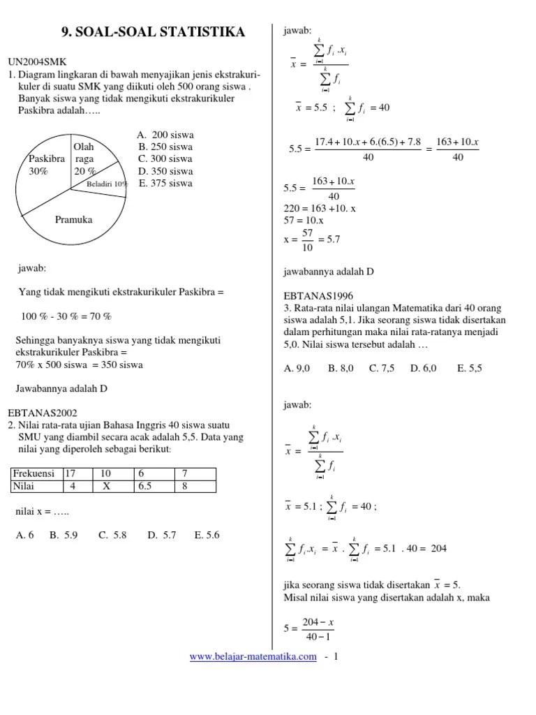 Contoh Soal Dan Pembahasan Statistika Kelas 12 : contoh, pembahasan, statistika, kelas, Soal-Jawab, Statistika