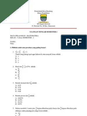 Soal Uts Matematika Kelas 5 Semester 1 Dan Kunci Jawabannya : matematika, kelas, semester, kunci, jawabannya, Matematika, Kelas, Semester