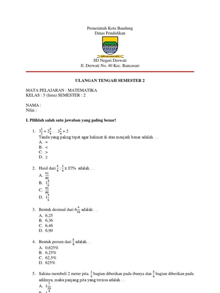 Soal Uts Kelas 5 Semester 2 Matematika : kelas, semester, matematika, Matematika, Kelas, Semester