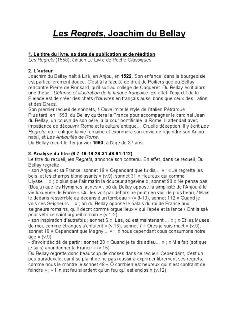 Les Regrets Du Bellay Analyse : regrets, bellay, analyse, Regrets,, Joachim, Bellay, Poésie