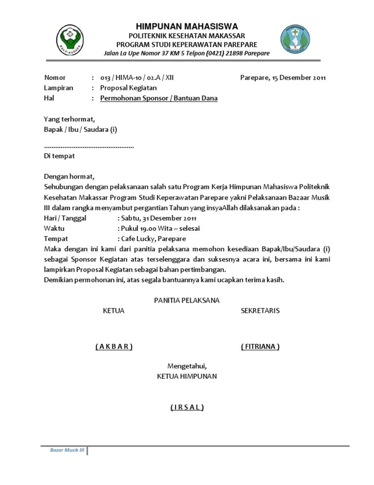 Surat Permohonan Sponsorship Doc : surat, permohonan, sponsorship, Surat, Permohonan, Sponsorship