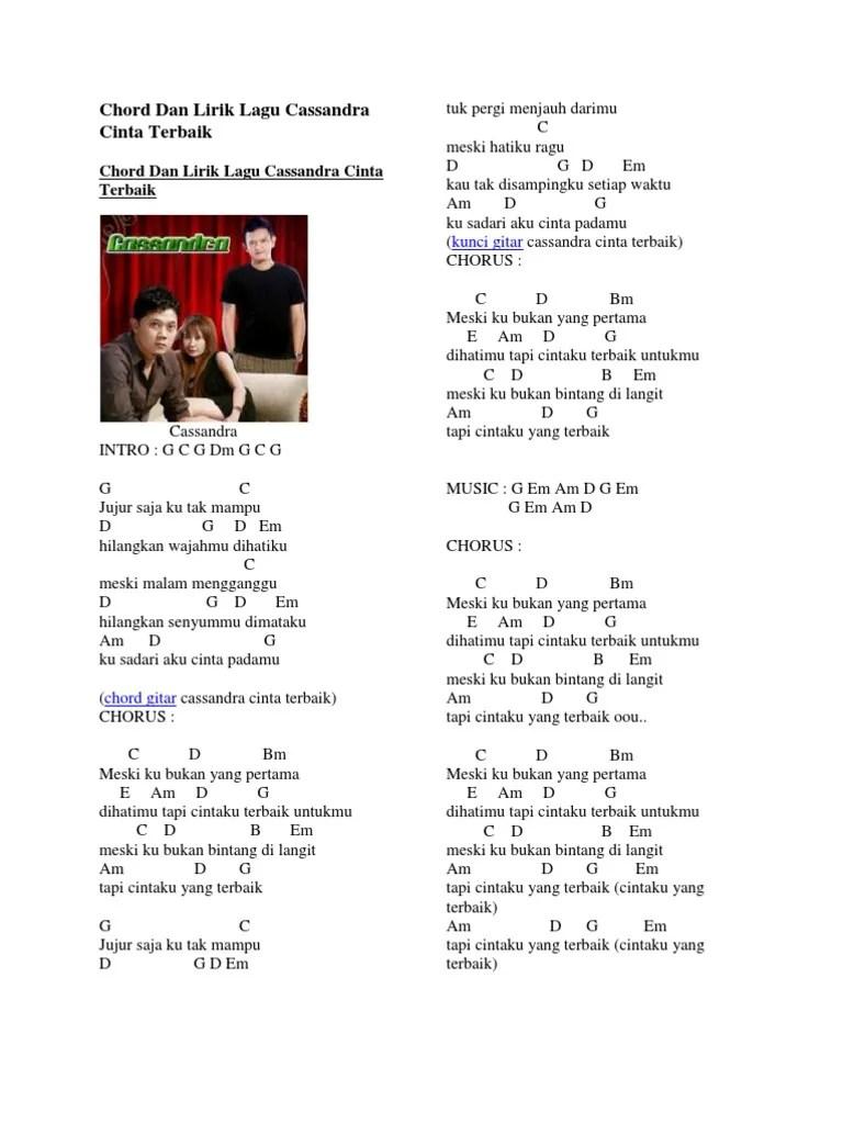 Download MP3 Lagu Cinta Terbaik - Cassandra, Lengkap Chord