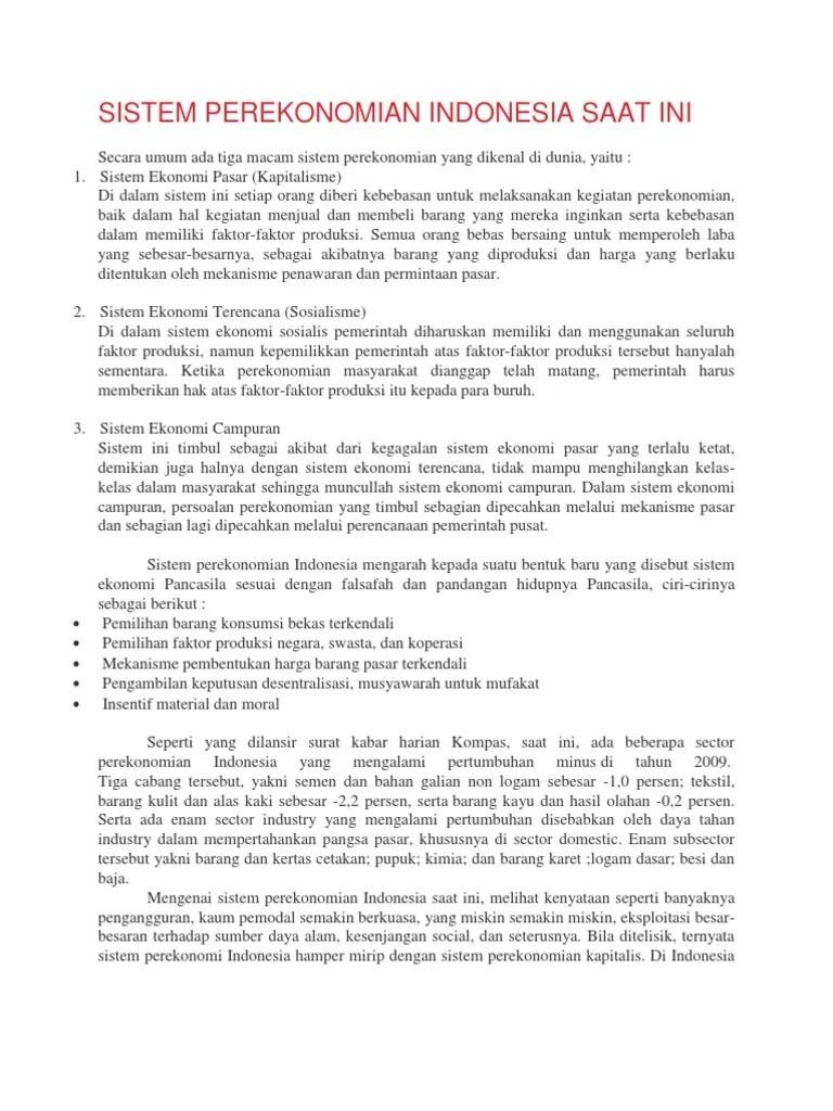 Tuliskan Ciri-ciri Sistem Ekonomi Tradisional : tuliskan, ciri-ciri, sistem, ekonomi, tradisional, Sistem, Perekonomian, Indonesia