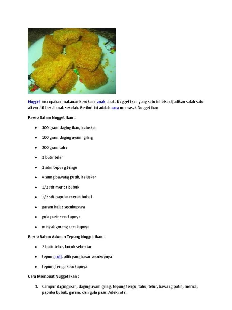 Cara Membuat Nugget Ikan : membuat, nugget, Resep, Nugget