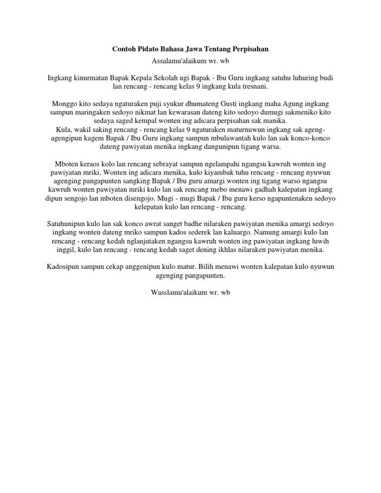 Pidato Bahasa Jawa Krama : pidato, bahasa, krama, Contoh, Pidato, Bahasa, Tentang, Perpisahan