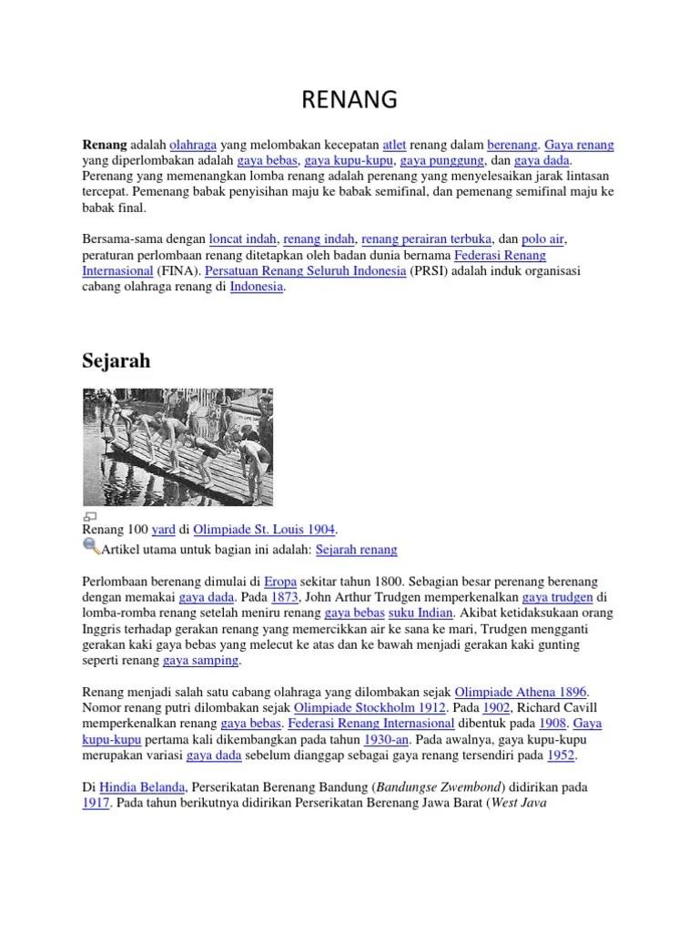 Sejarah Renang Indonesia : sejarah, renang, indonesia, Renang:, Sejarah