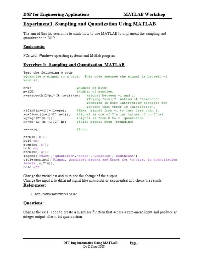 Lab 1- Sampling and Quantization Using MATLAB   Signal (Electrical Engineering)   Matlab   Avaliação gratuita de 30 dias   Scribd
