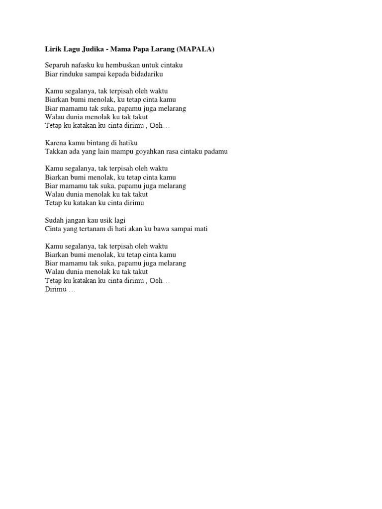 Lirik Lagu Judika Mama Papa Larang : lirik, judika, larang, Lirik, Judika.docx