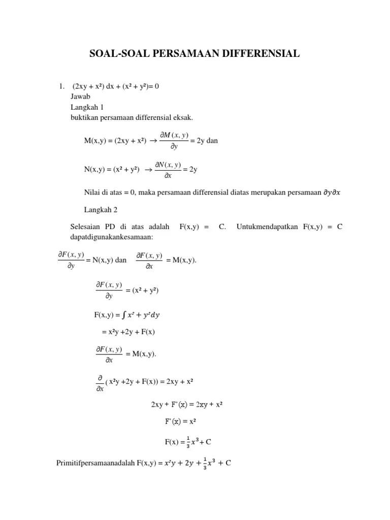 Persamaan Diferensial Eksak : persamaan, diferensial, eksak, Contoh, Diferensial, Eksak
