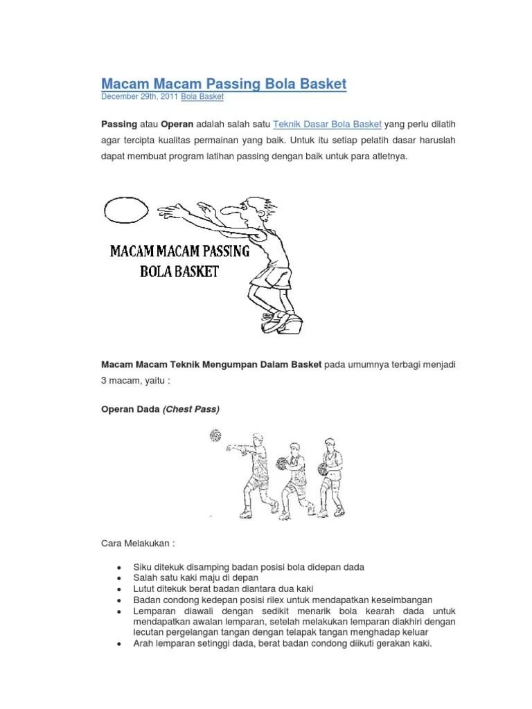 Macam Macam Passing Dalam Bola Basket : macam, passing, dalam, basket, Macam, Passing, Basket