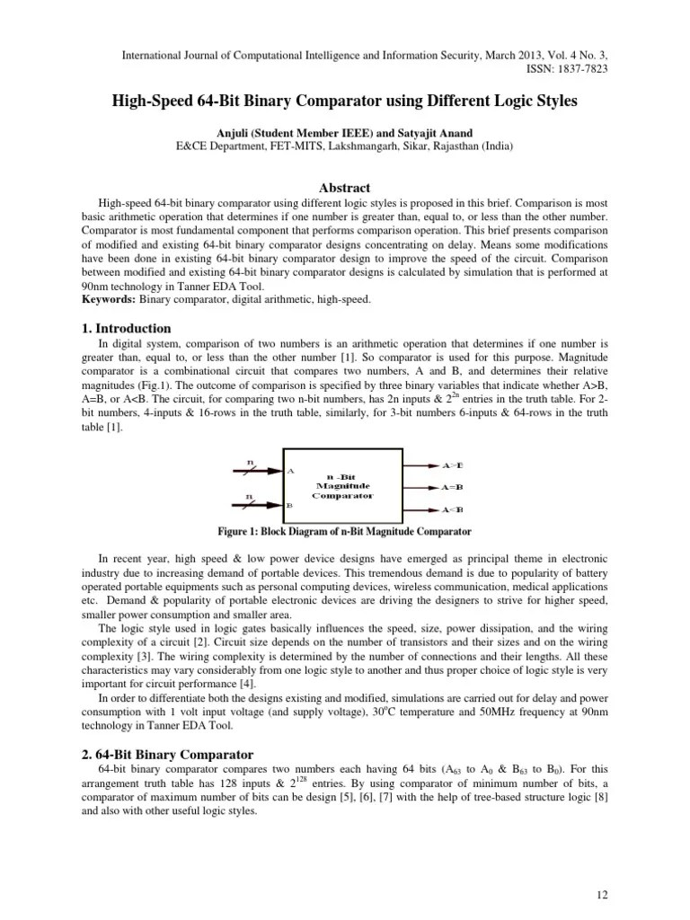hight resolution of paper 2 high speed 64 bit binary comparator using different logic styles electronic circuits cmos