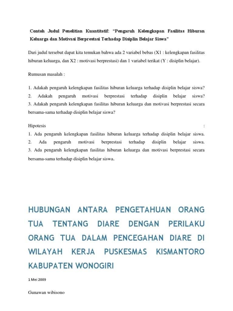 Contoh Judul Penelitian Kuantitatif Sd Contoh Ria Cute766
