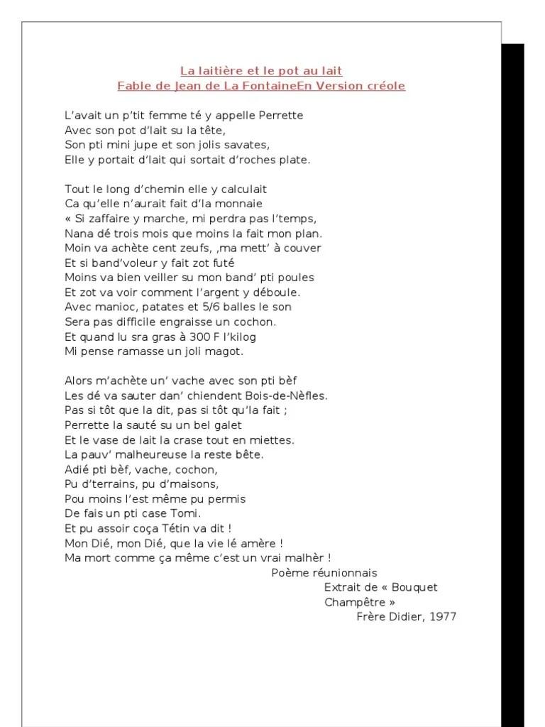 Perrette Et Le Pot Au Lait Texte : perrette, texte, Laitière, Agriculture