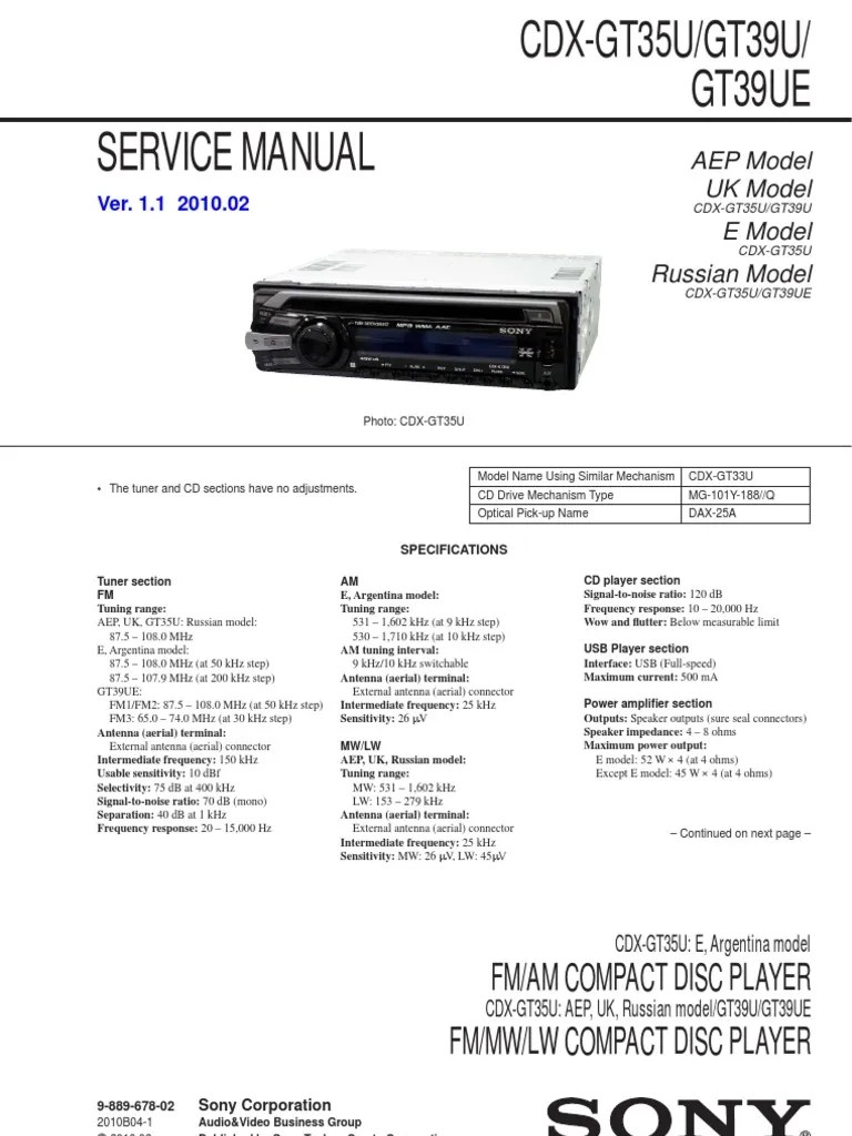 medium resolution of sony cdx gt200 wiring diagram