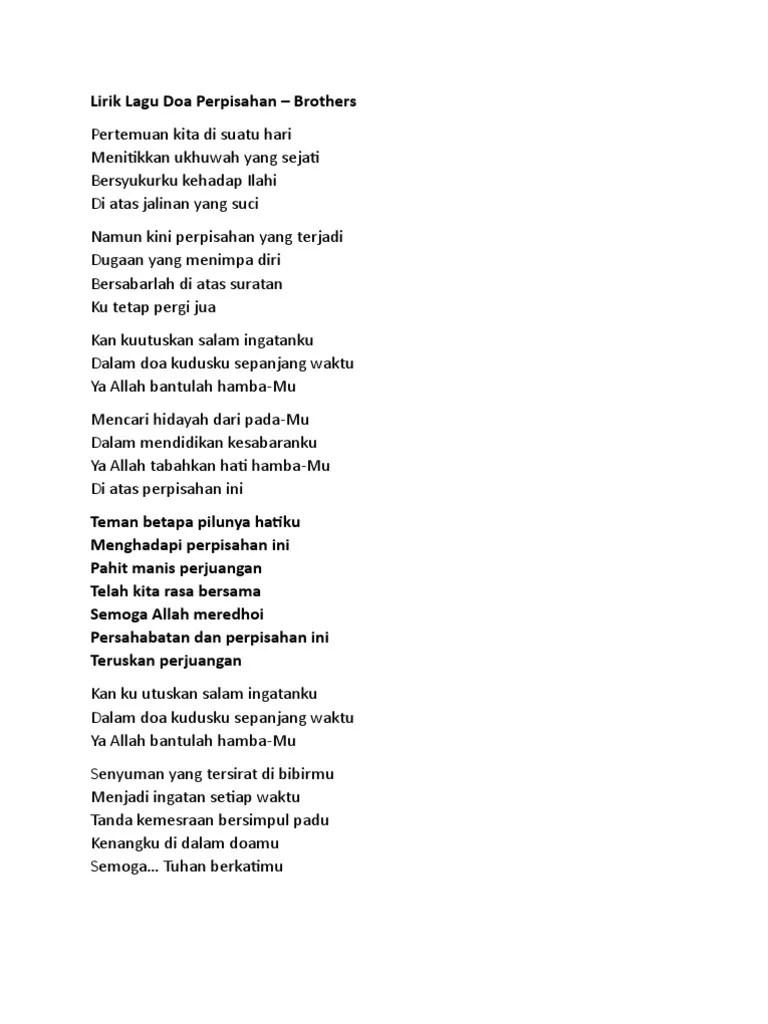 Lirik Lagu Perjuangan Dan Doa : lirik, perjuangan, Lirik, Perpisahan