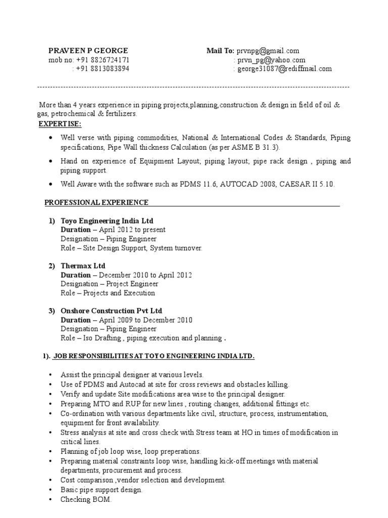 praveen piping designer resume pipe fluid conveyance engineering [ 768 x 1024 Pixel ]
