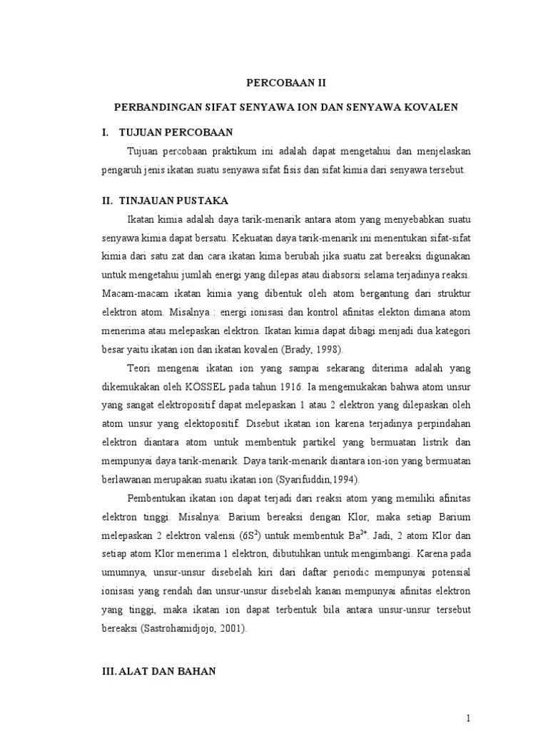 Sifat Senyawa Kovalen : sifat, senyawa, kovalen, Perbandingan, Sifat, Senyawa, Kovalen, Print