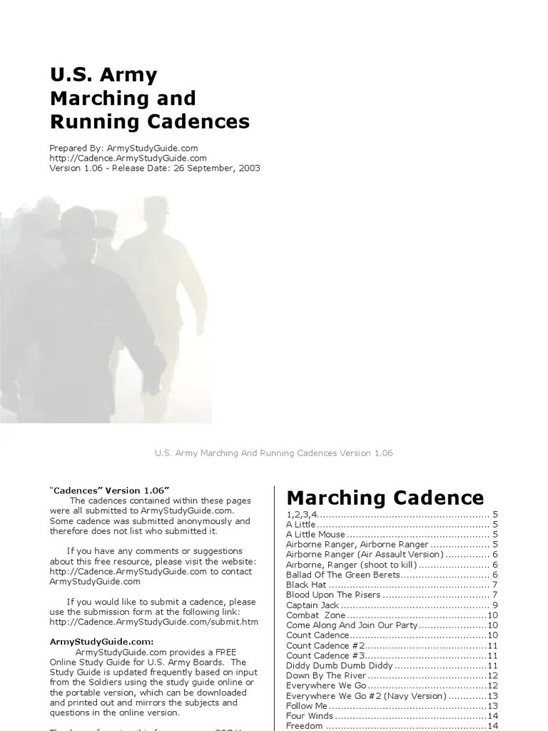 cadences airborne forces military