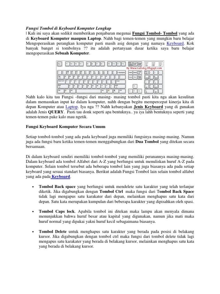 Tombol Di Keyboard Yang Berfungsi Menghapus Karakter Disebelah Kanan Kursor Yaitu : tombol, keyboard, berfungsi, menghapus, karakter, disebelah, kanan, kursor, yaitu, Fungsi, Tombol, Keyboard, Komputer, Lengkap