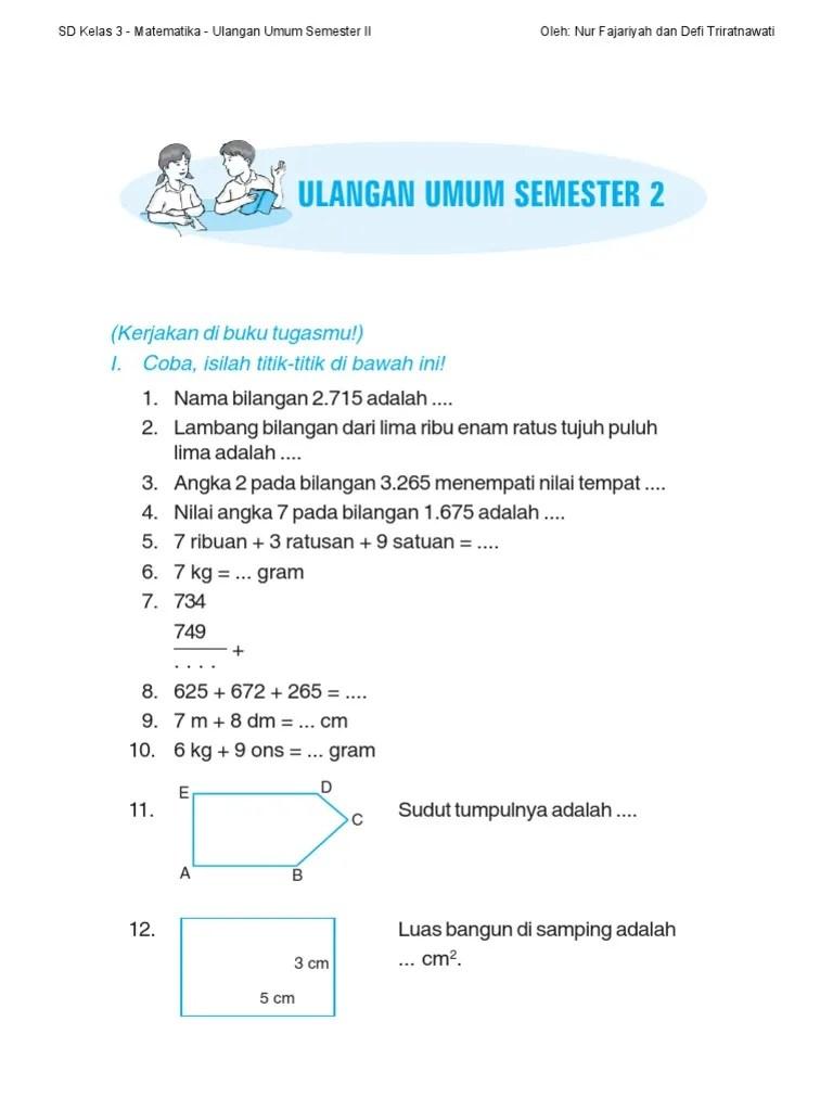 Soal Matematika Sd Kelas 3 : matematika, kelas, Matematika, Kelas, Semester