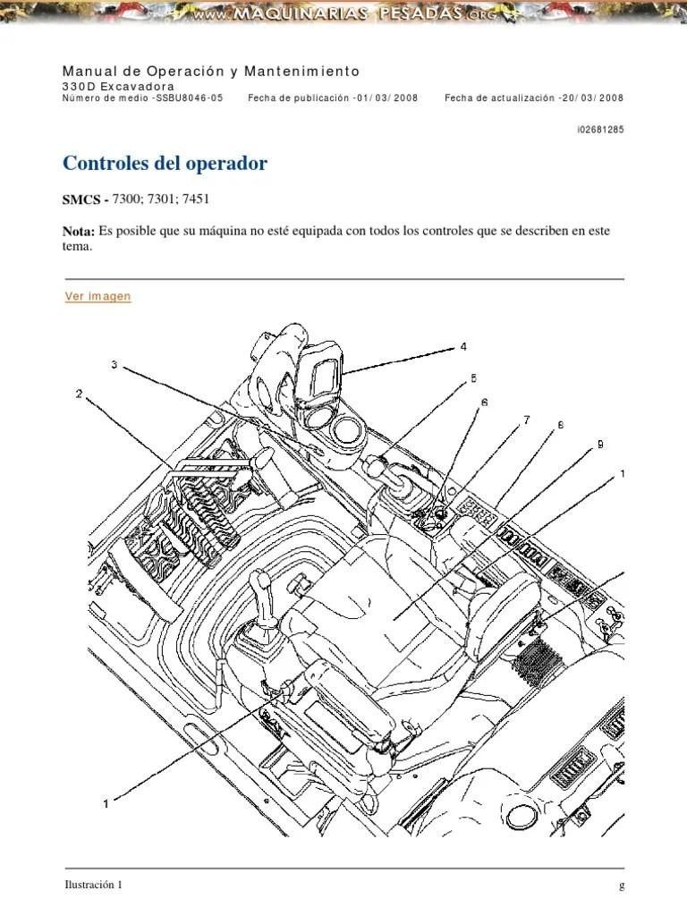 Manual Controles Operador Excavadora Hidraulica 330d