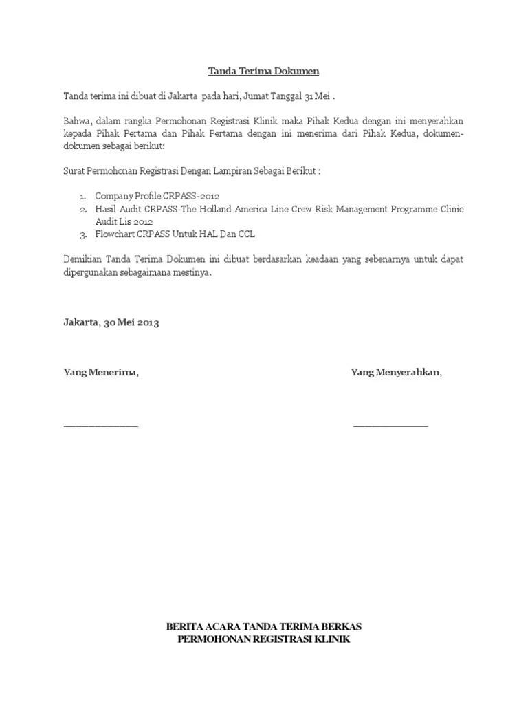 16 Contoh Surat Tanda Terima Barang, Dokumen, Uang - Contoh Surat