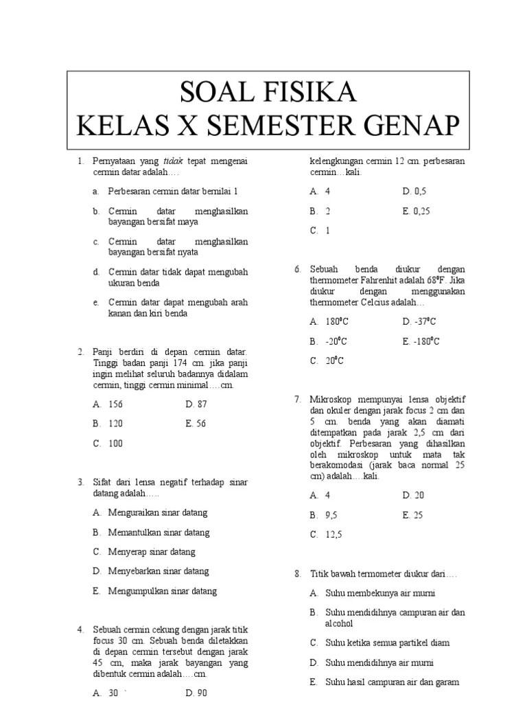 Soal Fisika Kelas 11 Semester 1 Kurikulum 2013 : fisika, kelas, semester, kurikulum, Contoh, Fisika, Kelas, Semester