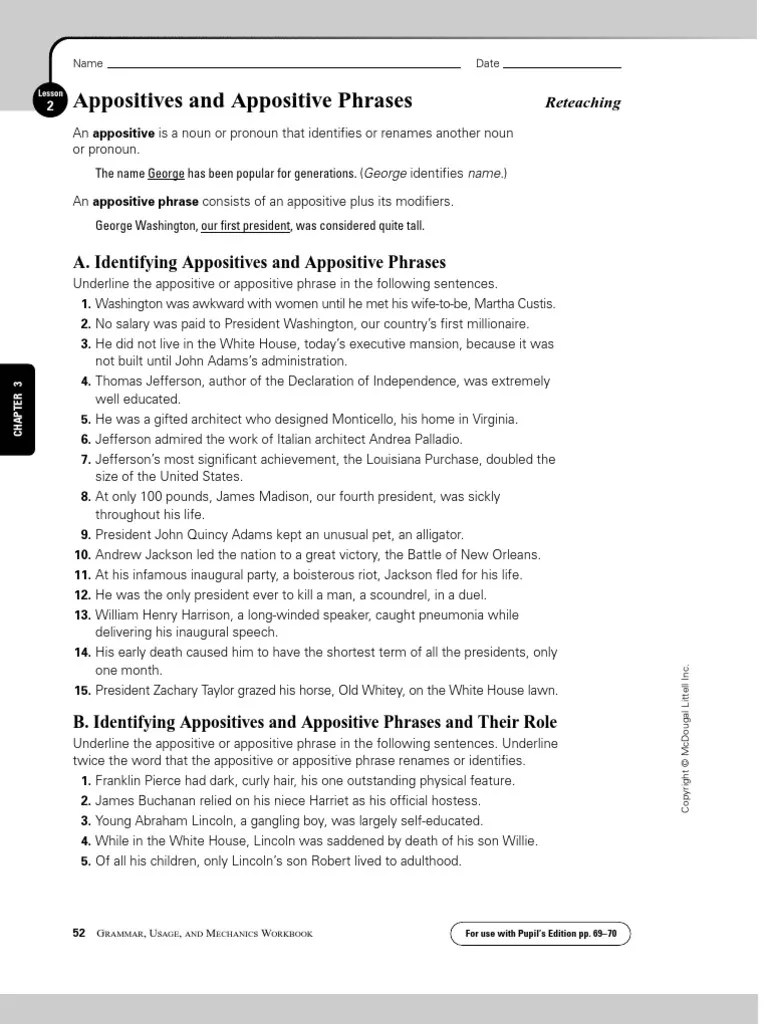 small resolution of Appositive Practice Worksheet Answers - Promotiontablecovers