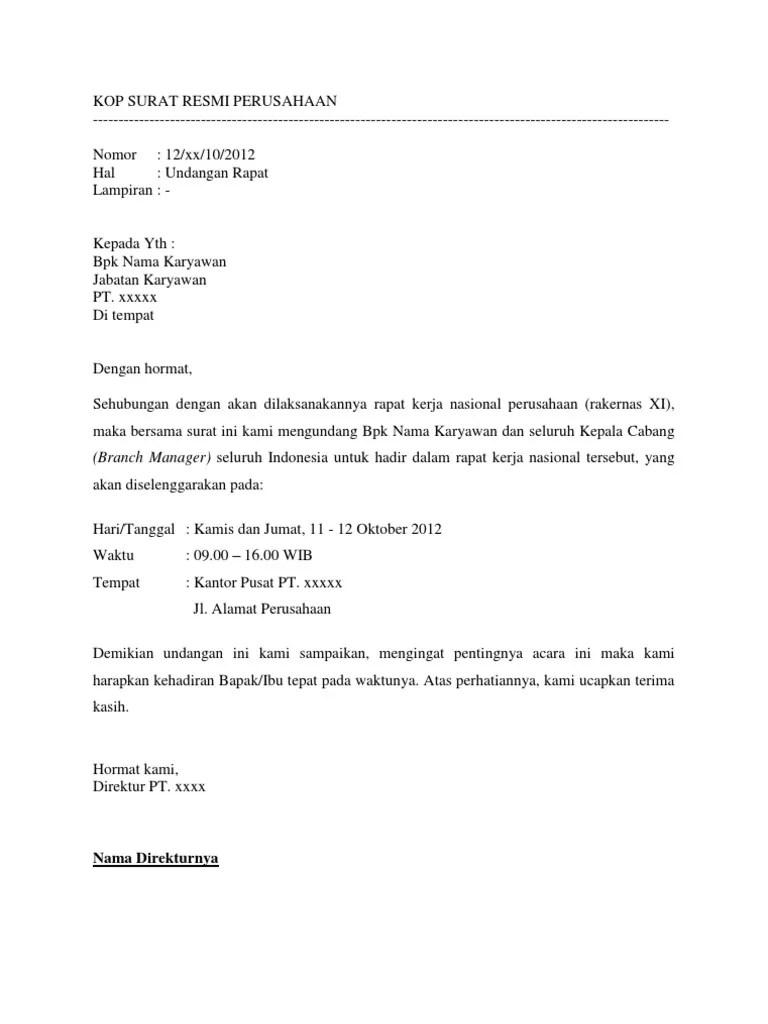 Surat Undangan Rapat Perusahaan : surat, undangan, rapat, perusahaan, Contoh, Surat, Undangan, Rapat