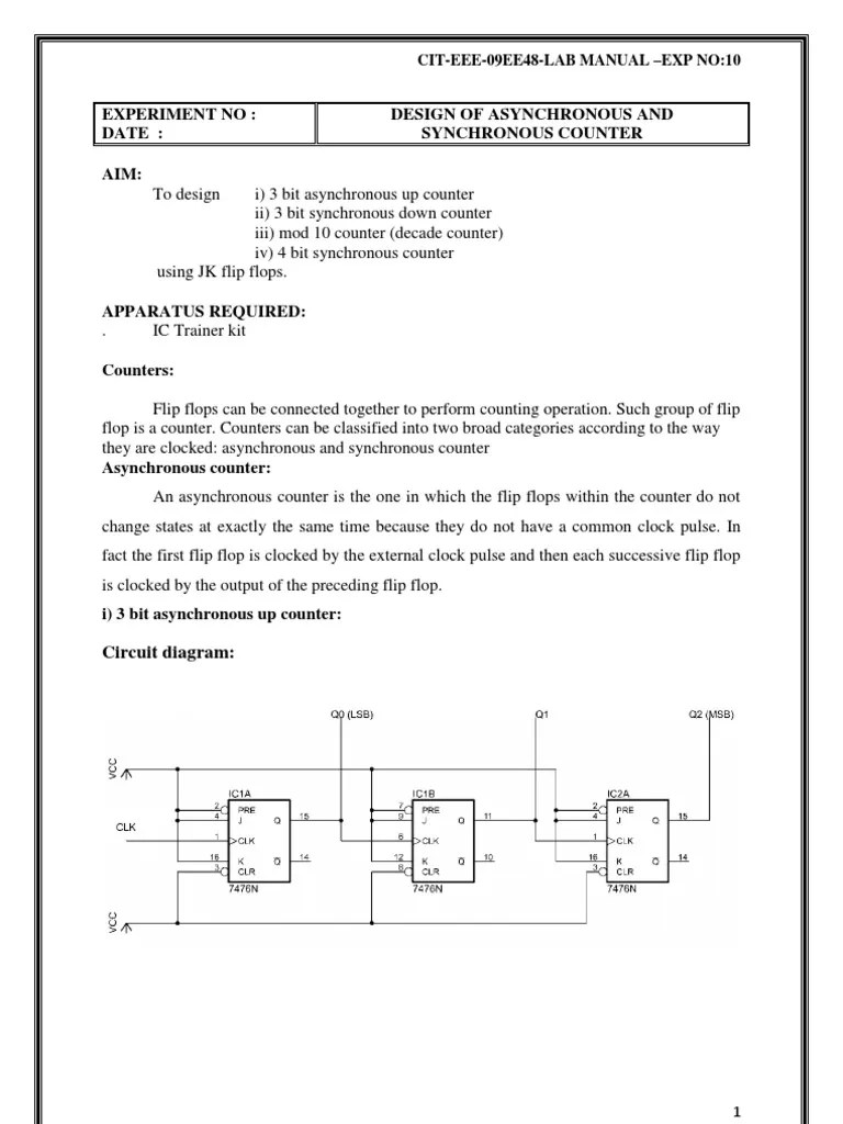 hight resolution of lab experiment design of asynchronous and synchronous counter electronic engineering computer hardware