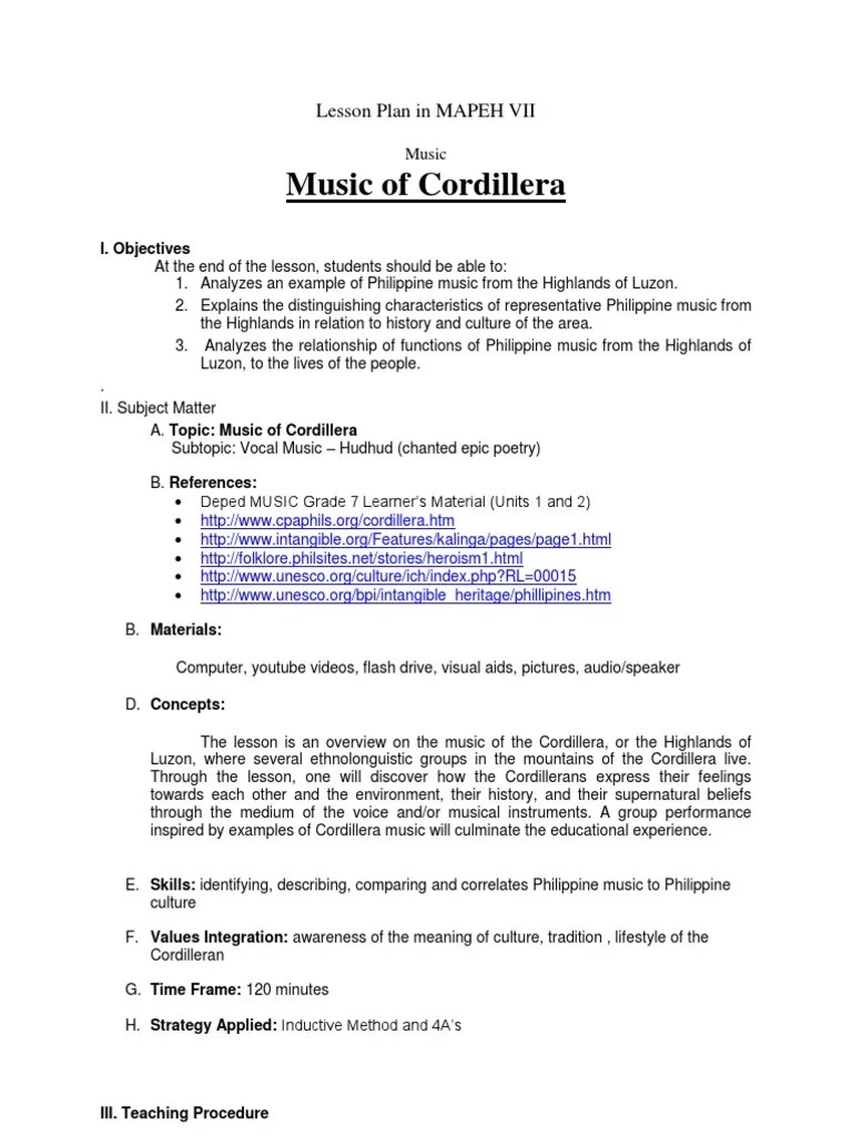 small resolution of Lesson Plan in MAPEH VII   Musical Instruments   Lesson Plan