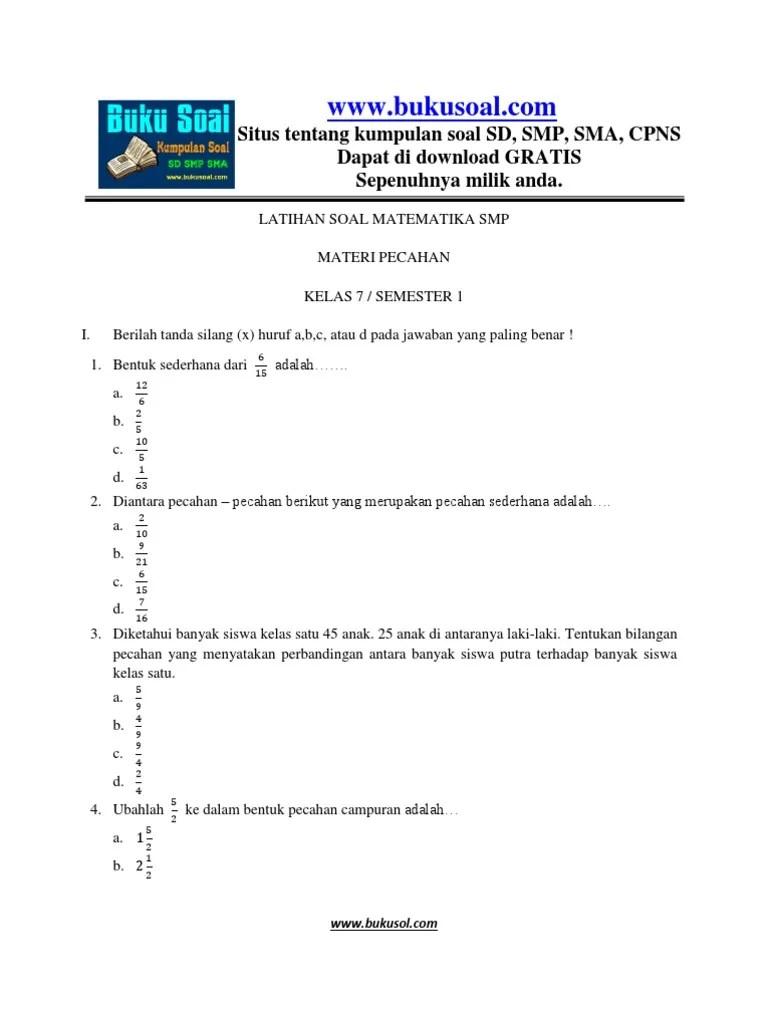 3) 9/4, ¾, 5/4, 7/4. 2. LATIHAN SOAL MATEMATIKA PECAHAN SMP TERBARU.docx