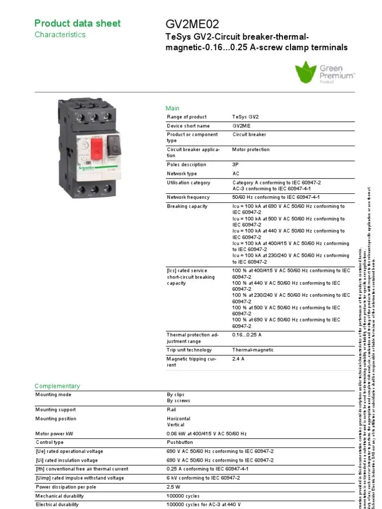 GV2ME02: Product data sheet | Electrical Components | Electrical Engineering