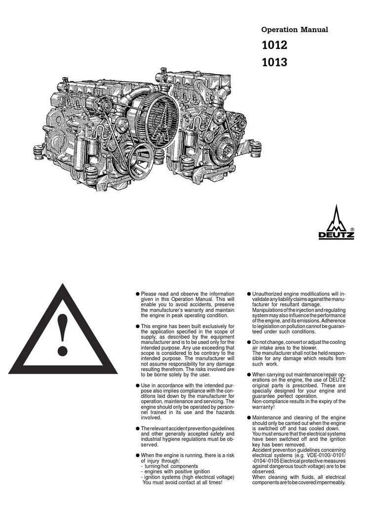 Deutz BF6M 1013 Operation Manual
