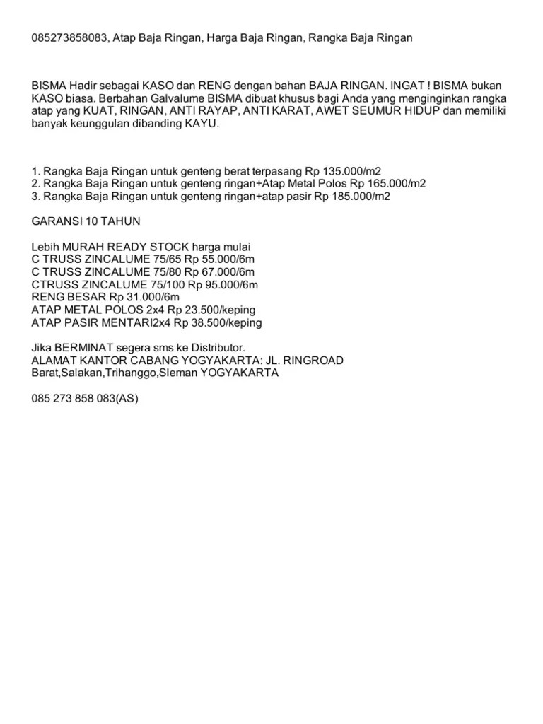distributor rangka baja ringan yogyakarta 085273858083 atap harga