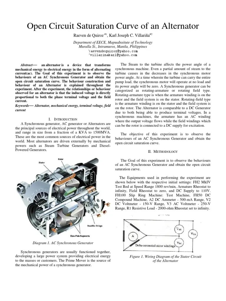 medium resolution of open circuit saturation curve of an alternator expt8 electric generator alternating current