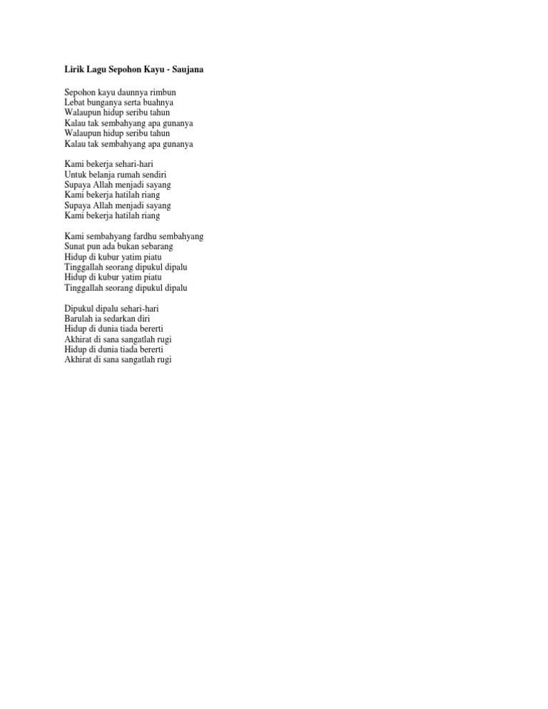 Lirik Sepohon Kayu : lirik, sepohon, Lirik, Sepohon