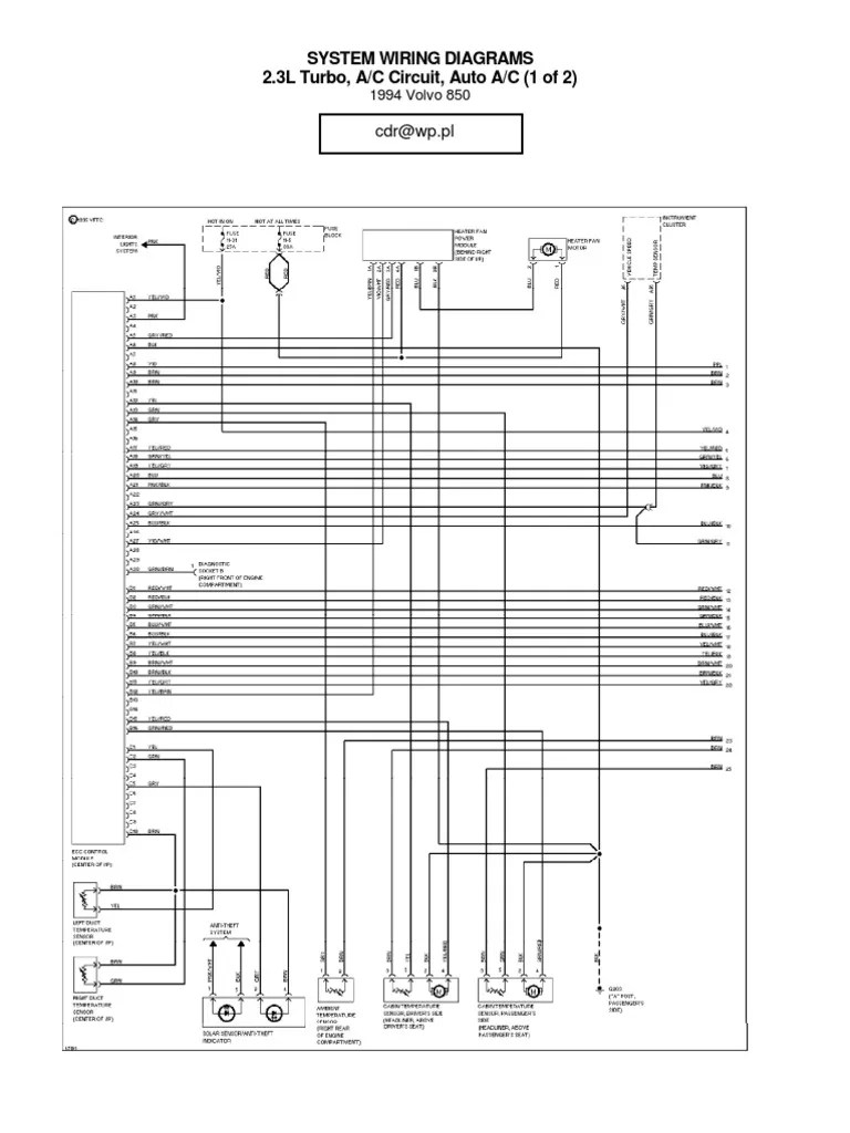 hight resolution of volvo 850 a c wiring diagram