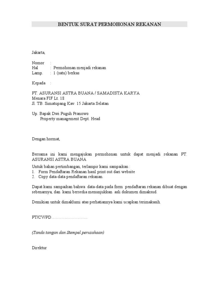 Surat Permohonan Rekanan : surat, permohonan, rekanan, Contoh, Surat, Permohonan, Rekanan, Cute766