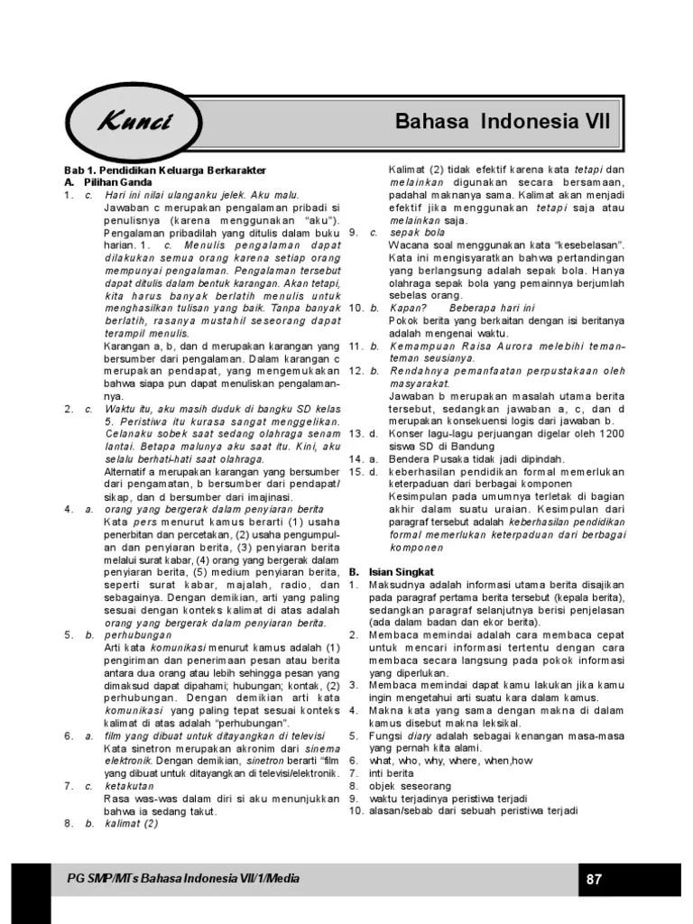 Soal Bahasa Indonesia Kelas 7 Semester 2 Kurikulum 2013 Dan Kunci Jawaban : bahasa, indonesia, kelas, semester, kurikulum, kunci, jawaban, Kunci, Jawaban, Bahasa, Indonesia, Kelas