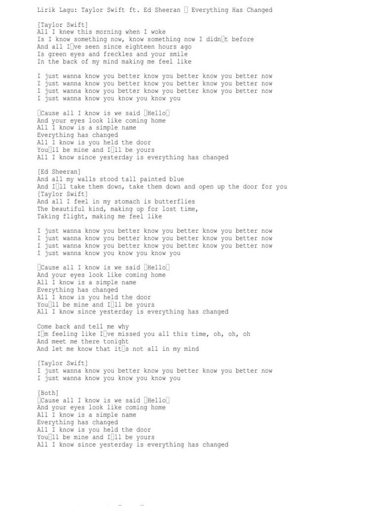Lirik Everything Has Changed : lirik, everything, changed, Lirik, Taylor, Swift, Sheeran, Everything, Changed