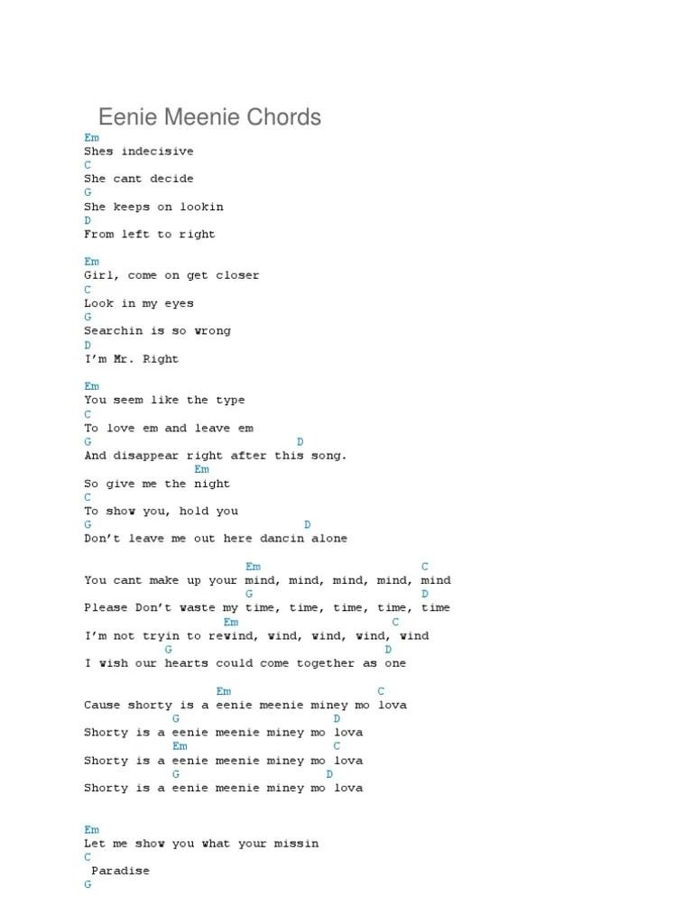 Kekasih Sejati Chord : kekasih, sejati, chord, Eenie, Meenie, Chords: