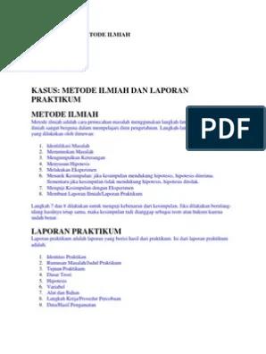 Metode Ilmiah Kimia : metode, ilmiah, kimia, Contoh, Kasus, Metode, Ilmiah