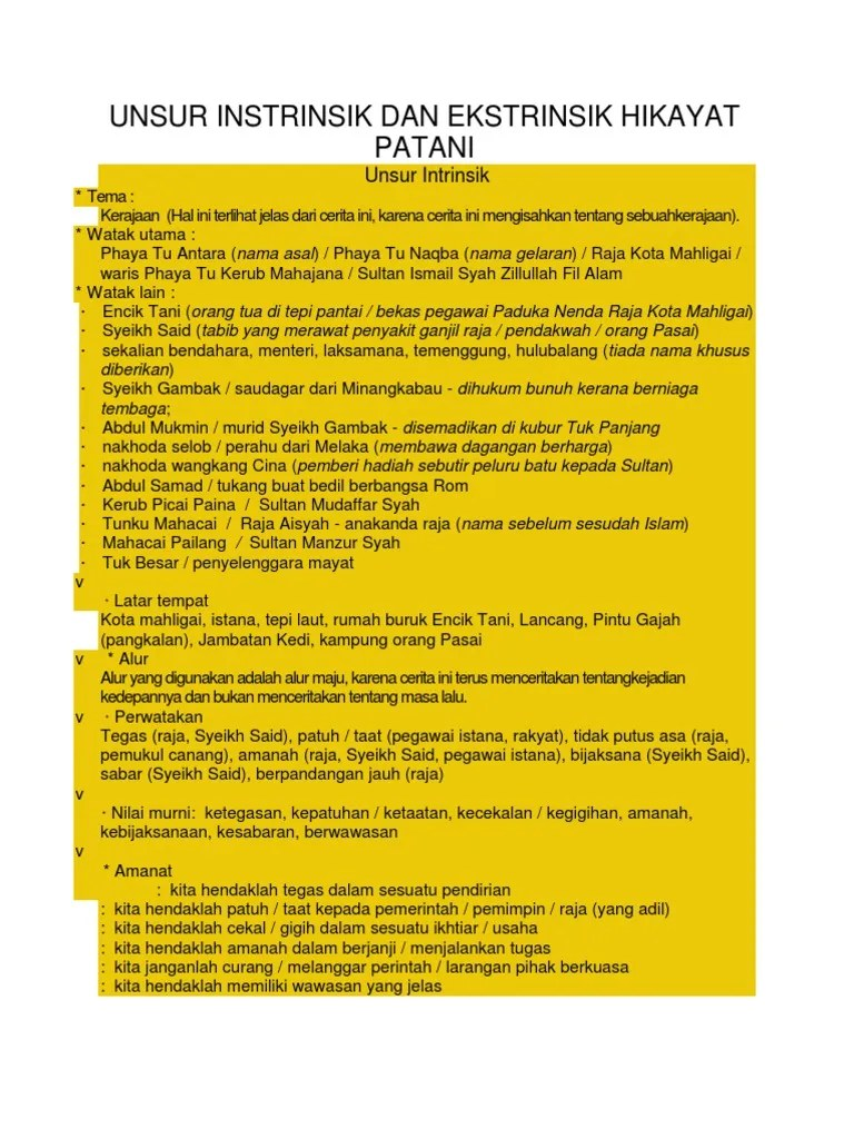 Unsur Unsur Intrinsik Hikayat : unsur, intrinsik, hikayat, Unsur, Instrinsik, Ekstrinsik, Hikayat, Patani