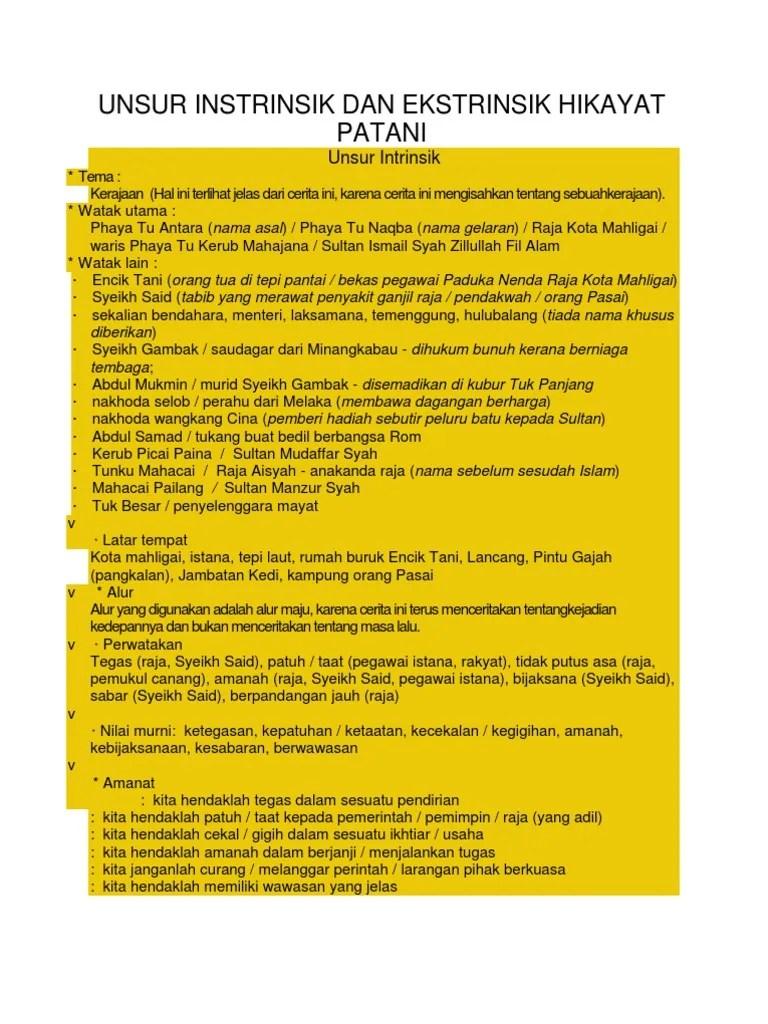 Unsur Ekstrinsik Hikayat : unsur, ekstrinsik, hikayat, Unsur, Instrinsik, Ekstrinsik, Hikayat, Patani