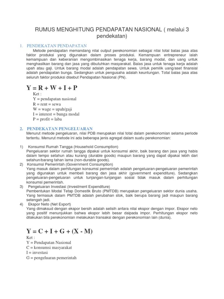 Cara Menghitung Pendekatan Pengeluaran : menghitung, pendekatan, pengeluaran, Rumus, Menghitung, Pendapatan, Nasional