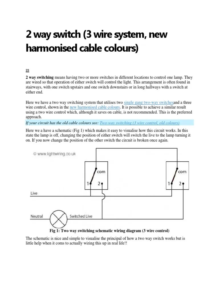medium resolution of 2 way switch 2 way switch wiring diagram fig 1 two